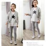 pretty little girl wearing her cotton workout leggings gray color